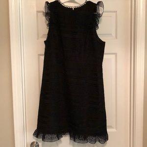 J Crew cap sleeve lace black dress size 16